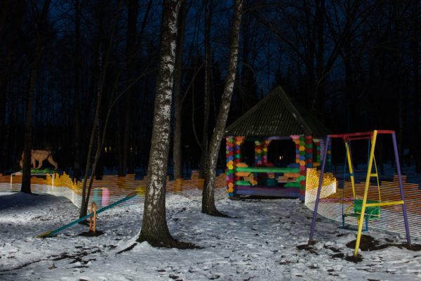 A special light painting tool displays radiation levels in real-time at a children's park in Zlynka (Злынка), Russia. Here white light shows contamination levels up to 0.23uSv/h, while orange highlights elevated levels – from 0.40uSv/h to 0.71uSv/h around this playground equipment. 30 years after the 1986 Chernobyl nuclear disaster, the park still contains areas of elevated radiation levels. No digital manipulation is involved in the image. Greenpeace/Greg McNevin
