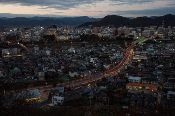 Looking out to Fukushima city over Watari, from Bentenyama Park.