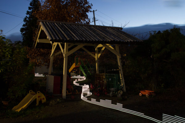 A special light painting tool reveals radioactive contamination. Here at the nursery school Soramame in Fukushima city the levels are very low, but this has not stopped the business profoundly suffering in the wake of the 2011 Fukushima nuclear meltdowns. Greenpeace/Greg McNevin